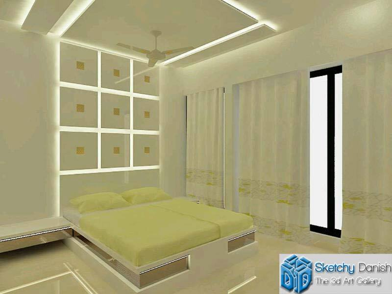 3D design of a bedroom with marble flooring by Sketchy Danish Bedroom Modern | Interior Design Photos & Ideas