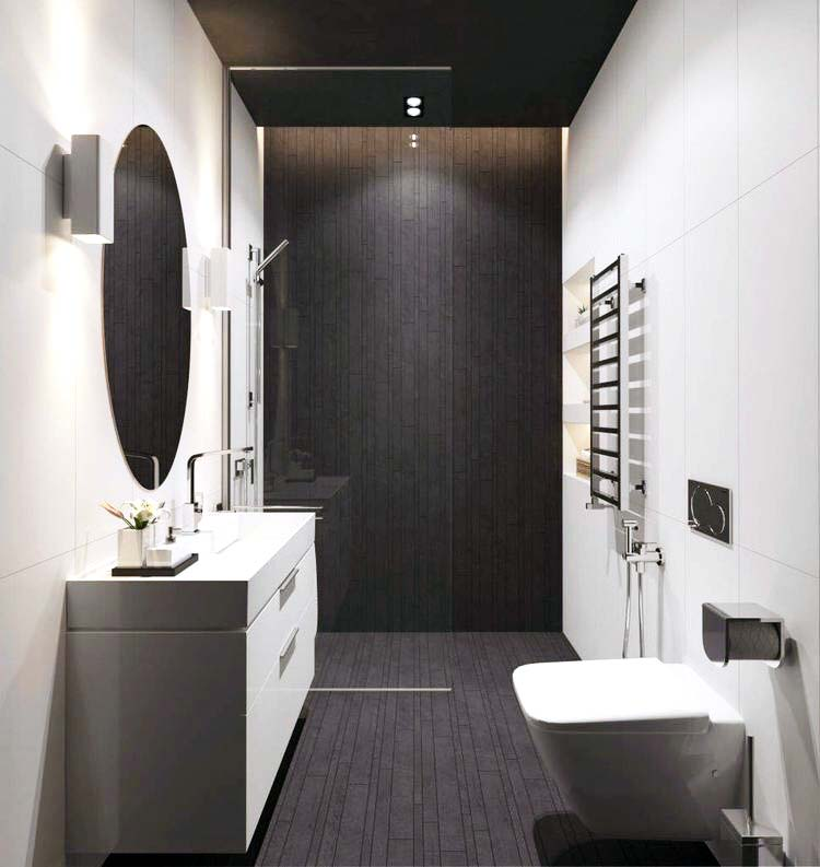 White Themed Bathroom With Wooden Flooring by Preet Bathroom Contemporary | Interior Design Photos & Ideas