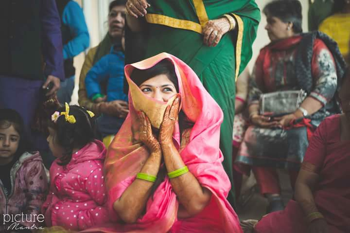 Shy bride hiding her smile by PictureTree Wedding-photography | Weddings Photos & Ideas