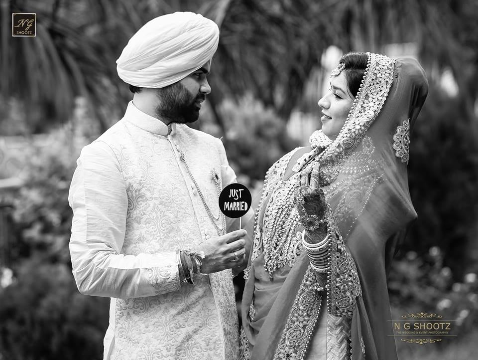 A lovely black and white photograph of the couple right after getting hitched by NG Shootz Wedding-photography | Weddings Photos & Ideas