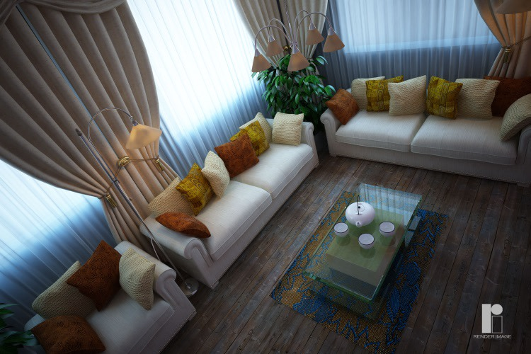 Contemporary living room with wooden flooring by Render Image Living-room Contemporary | Interior Design Photos & Ideas