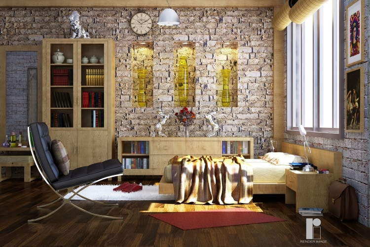 3D design of a master bedroom by Render Image Bedroom Modern   Interior Design Photos & Ideas