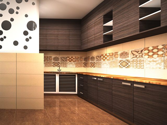 Astounding 3D design for modular kitchen by Real Paradise Group Modular-kitchen | Interior Design Photos & Ideas