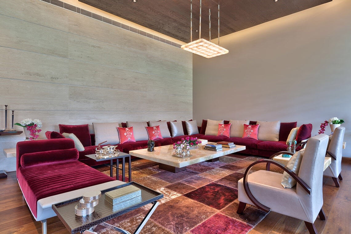 Red Velvet Sectional Sofa and Brown And Cherry Red Tiles by Sakshi Gugnani Living-room Contemporary   Interior Design Photos & Ideas