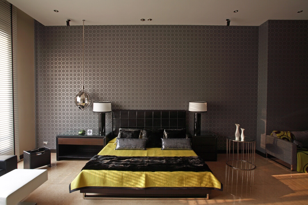 Black Themed Bedroom With Wooden Low-Floor Bed by Sakshi Gugnani Bedroom Modern   Interior Design Photos & Ideas