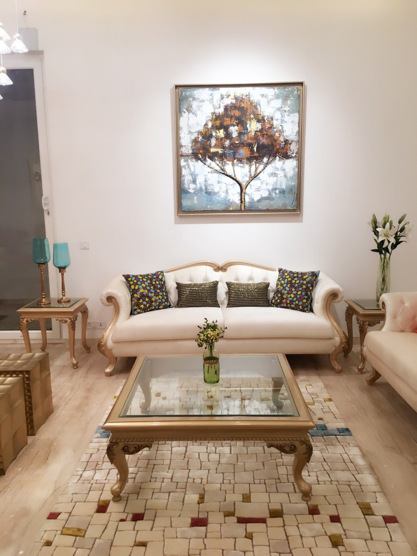 White Themed Living Room With White Camel Back Sofa by Sakshi Gugnani Living-room Modern | Interior Design Photos & Ideas