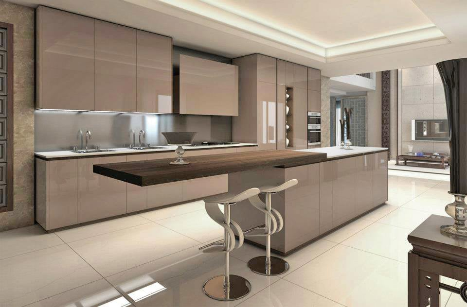 Island Kitchen With English Chestnut Colored Cabinets And Marble Flooring by Fantini Designs Pvt Ltd  Modular-kitchen Modern | Interior Design Photos & Ideas