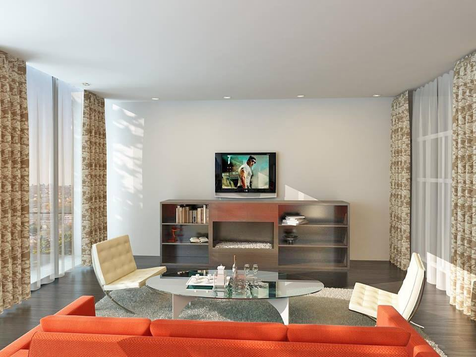 Living Room With Wooden Display Unit And Glass Centre Table by Fantini Designs Pvt Ltd  Living-room Modern   Interior Design Photos & Ideas