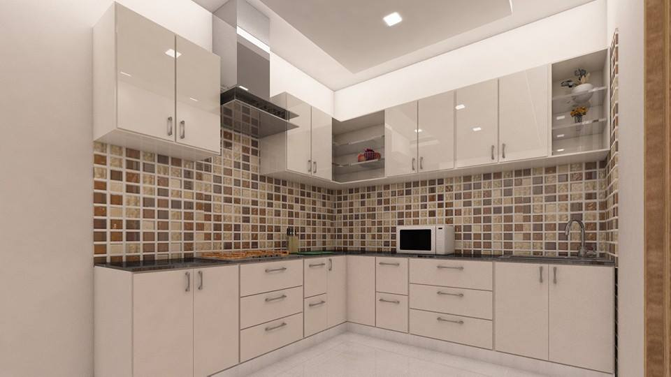 L-Shaped White Shade Cabinets In Modular Kitchen by Sahil Ahmad Saifi Modular-kitchen Modern | Interior Design Photos & Ideas