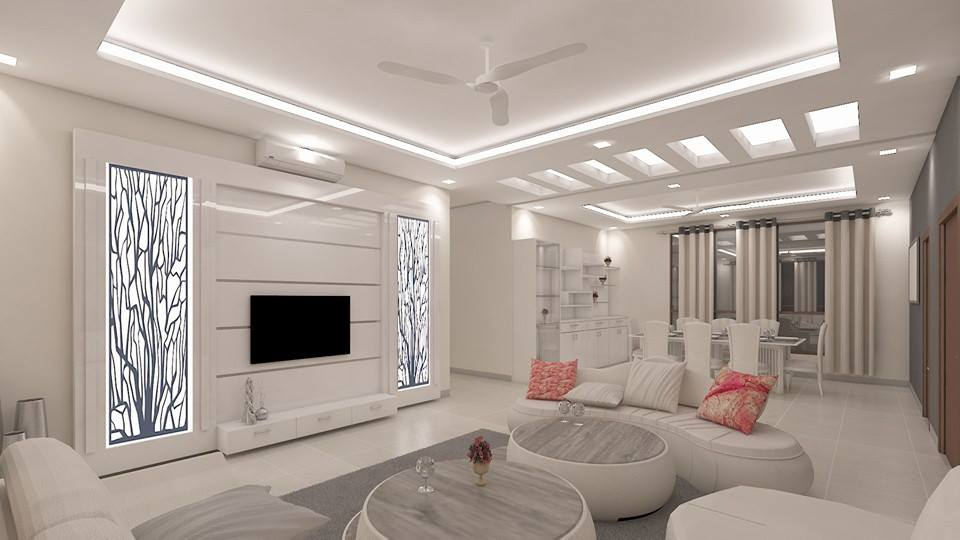 White Shade Living Room With Round Chairs And Curve Sofa by Sahil Ahmad Saifi Living-room Contemporary | Interior Design Photos & Ideas