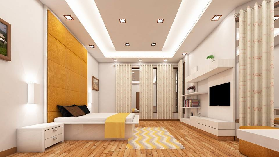 Wooden Flooring And White False Ceiling In Bedroom by Sahil Ahmad Saifi Bedroom Contemporary | Interior Design Photos & Ideas