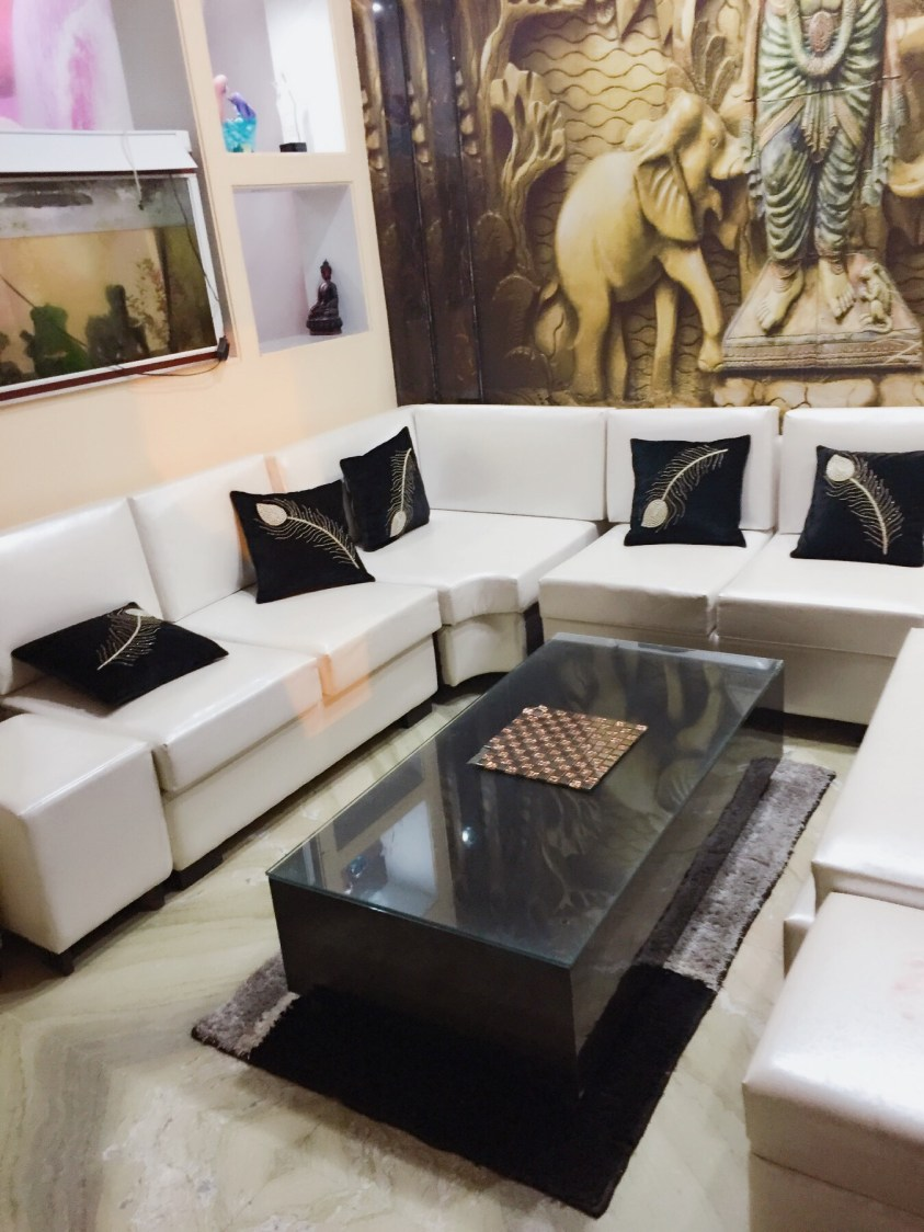 White Cushioned Couch WithGlass Top Centre Table by Vaishali Living-room | Interior Design Photos & Ideas