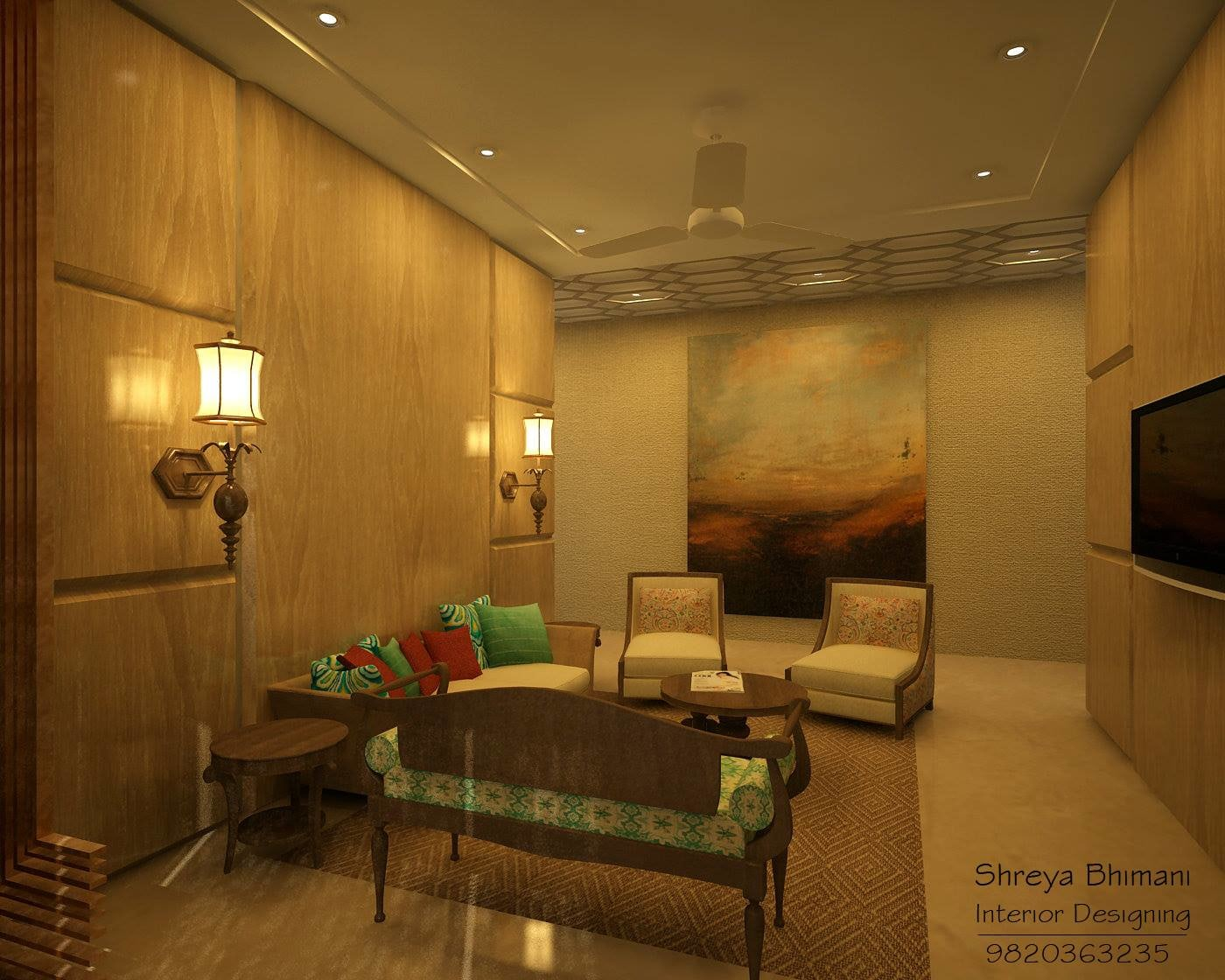 Elegant Living Room With Wooden Camel Back Sofa and Wood Finish Wall by Shreya  Living-room Vintage | Interior Design Photos & Ideas