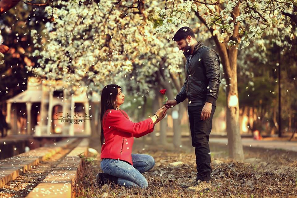 The Stunning Propose Style Pre-Wedding Shoot In A Flowery Location by Sourab Sharma Wedding-photography | Weddings Photos & Ideas