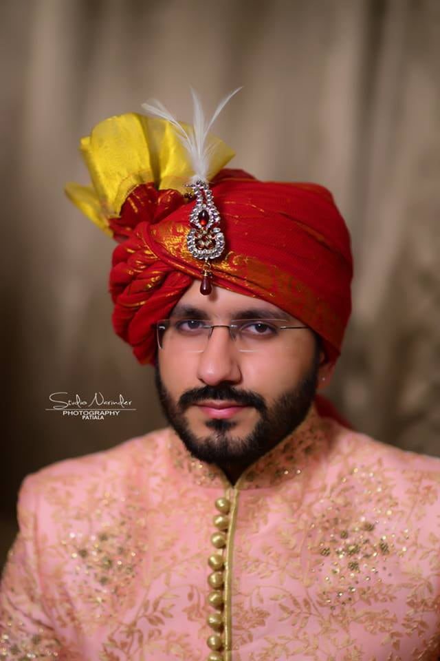 Rich Red Turban With Golden Hues Embraced By Red Stoned by Sourab Sharma Wedding-photography | Weddings Photos & Ideas