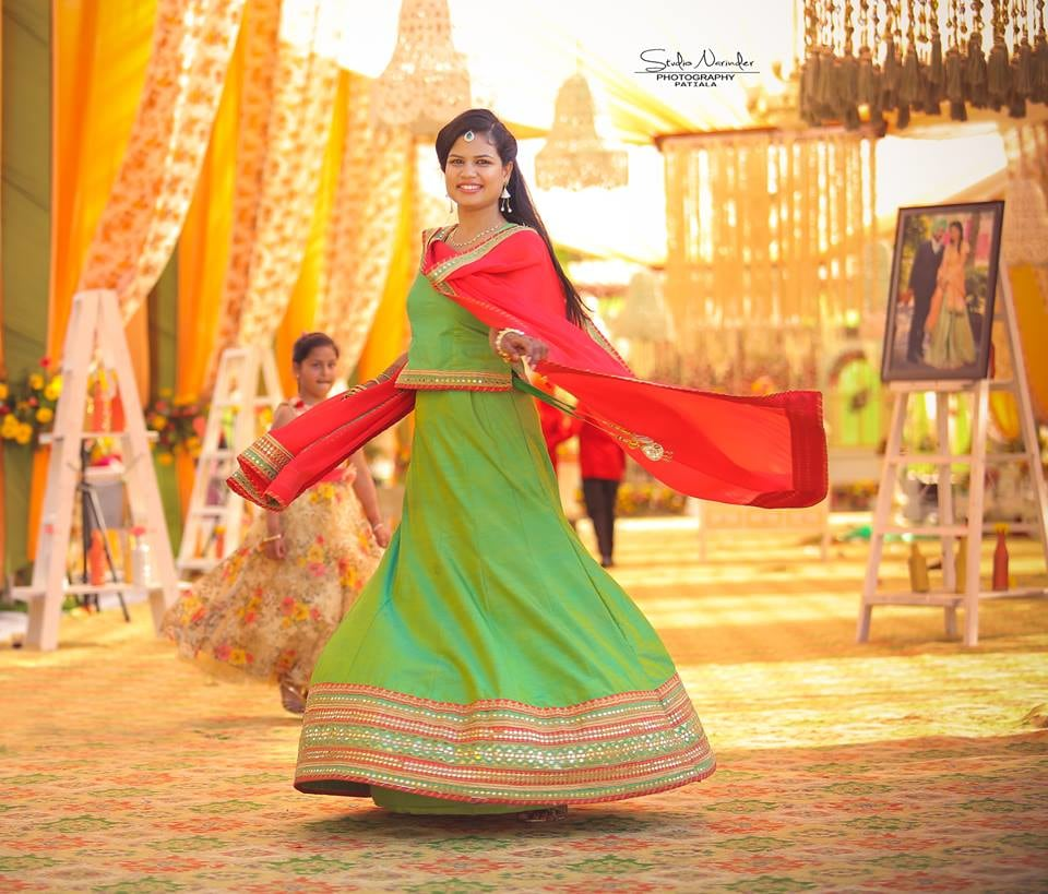 Mehendi Green Long Skirt With Matching Koti Completing Its Look With  Red Dupatta by Sourab Sharma Wedding-photography Wedding-dresses | Weddings Photos & Ideas