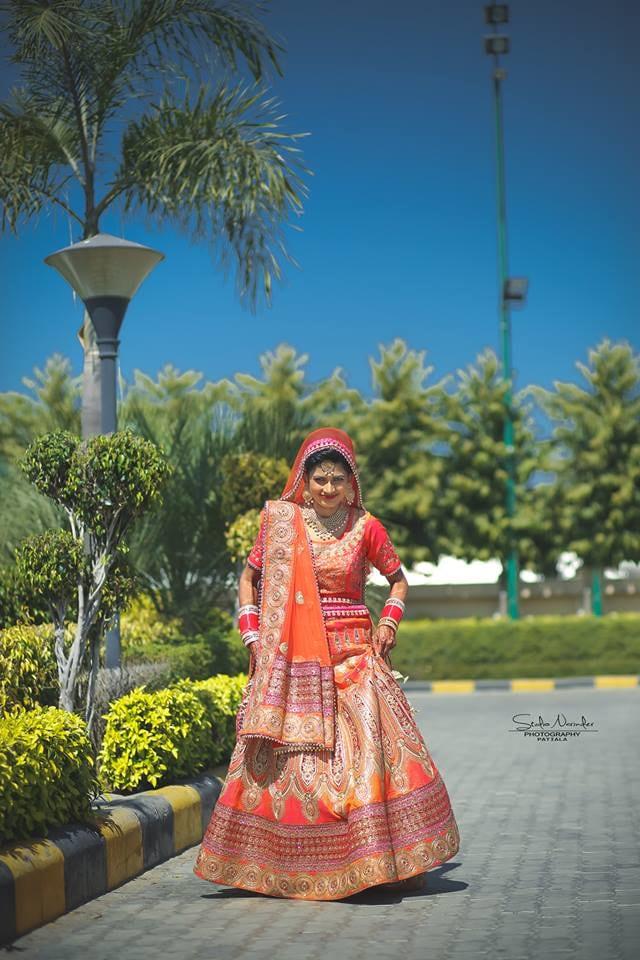 Citrus Orange And Pink Brocade Lehenga With Golden Borders by Sourab Sharma Wedding-dresses | Weddings Photos & Ideas