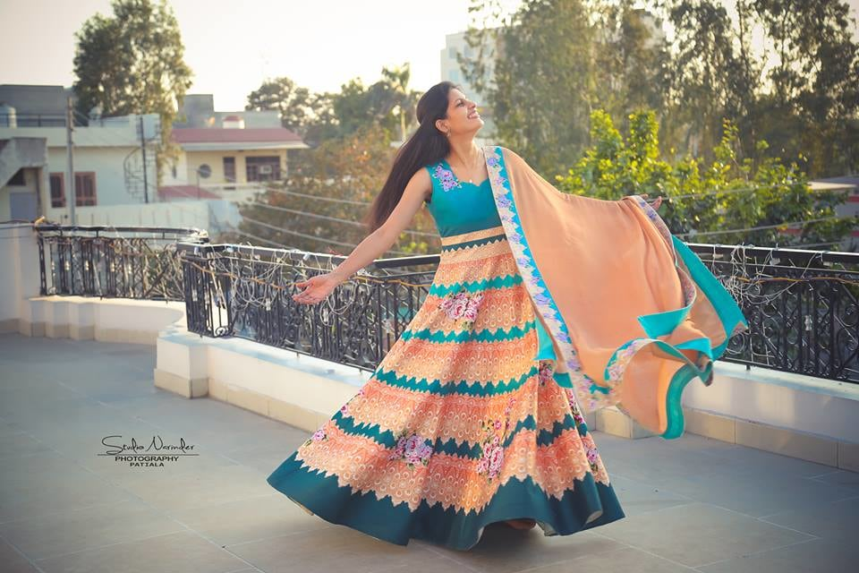 Stunning Blue Anarkali Suit With Orange And Pink Flora Print by Sourab Sharma Wedding-photography Wedding-dresses | Weddings Photos & Ideas