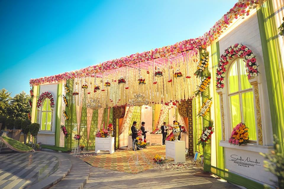 Brilliant Entrance Decor With Pink And White Flower Danglers by Sourab Sharma Wedding-decor | Weddings Photos & Ideas
