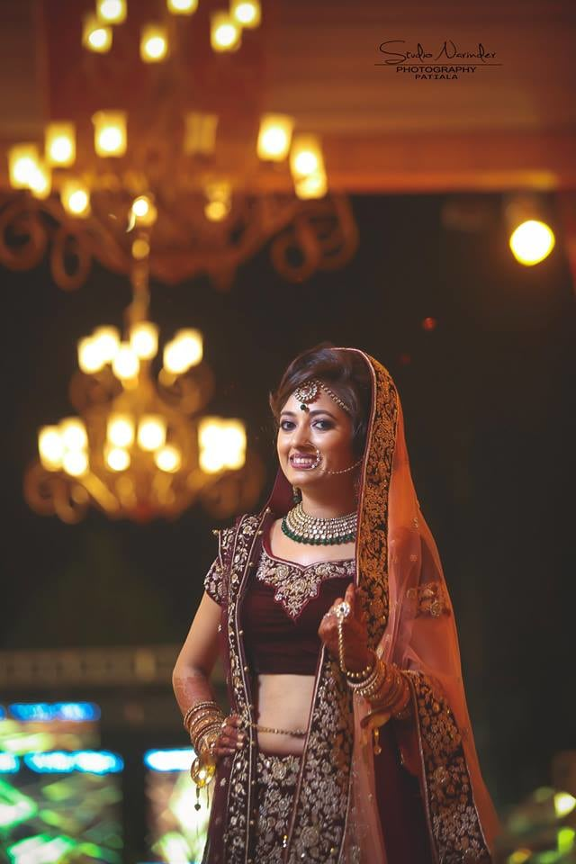 Wine Red Velvet Lehenga With Intricate Silver Floral Borders by Sourab Sharma Wedding-dresses | Weddings Photos & Ideas