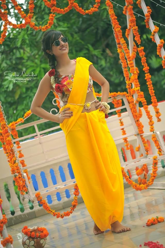 Yellow Saree With Sleeveless Floral Printed Blouse For  Vibrant Look On Haldi Day by Sourab Sharma Wedding-photography Wedding-dresses | Weddings Photos & Ideas