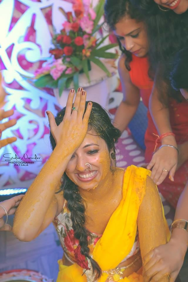 Candid Shot Of Bride To Be During Haldi Ceremony by Sourab Sharma Wedding-photography | Weddings Photos & Ideas