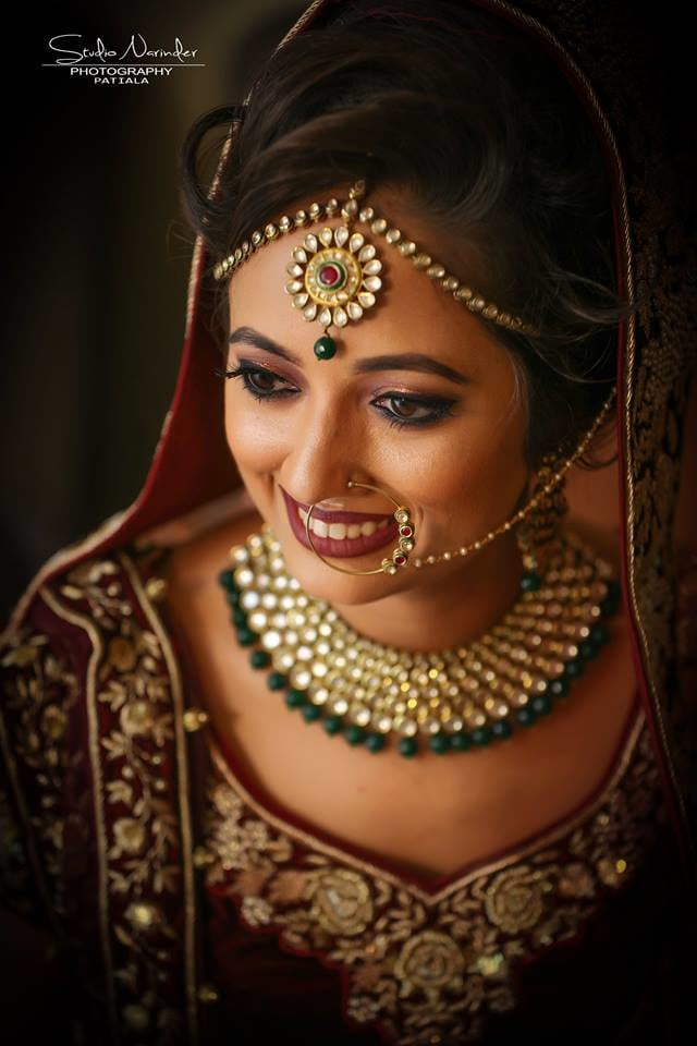 Exquisite Kundan And Polki Bridal Headpiece And Necklace With Emerald Green Stones by Sourab Sharma Bridal-jewellery-and-accessories | Weddings Photos & Ideas