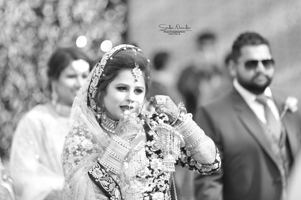 Black and White Shot Of Conventional Punjabi Bride by Sourab Sharma Wedding-photography | Weddings Photos & Ideas