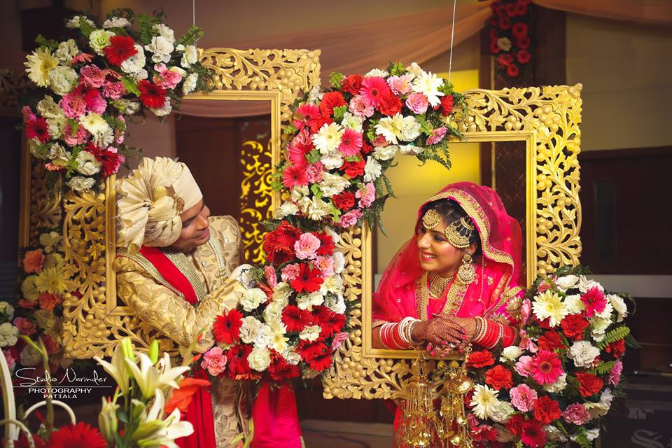 Golden Carved Frames With Floral decoration For Wedding Shoot by Sourab Sharma Wedding-photography | Weddings Photos & Ideas
