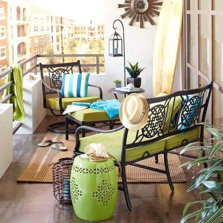 Balcony with sitting area with Eclectic style seating arrangement by Tanya Anand Open-spaces Eclectic | Interior Design Photos & Ideas