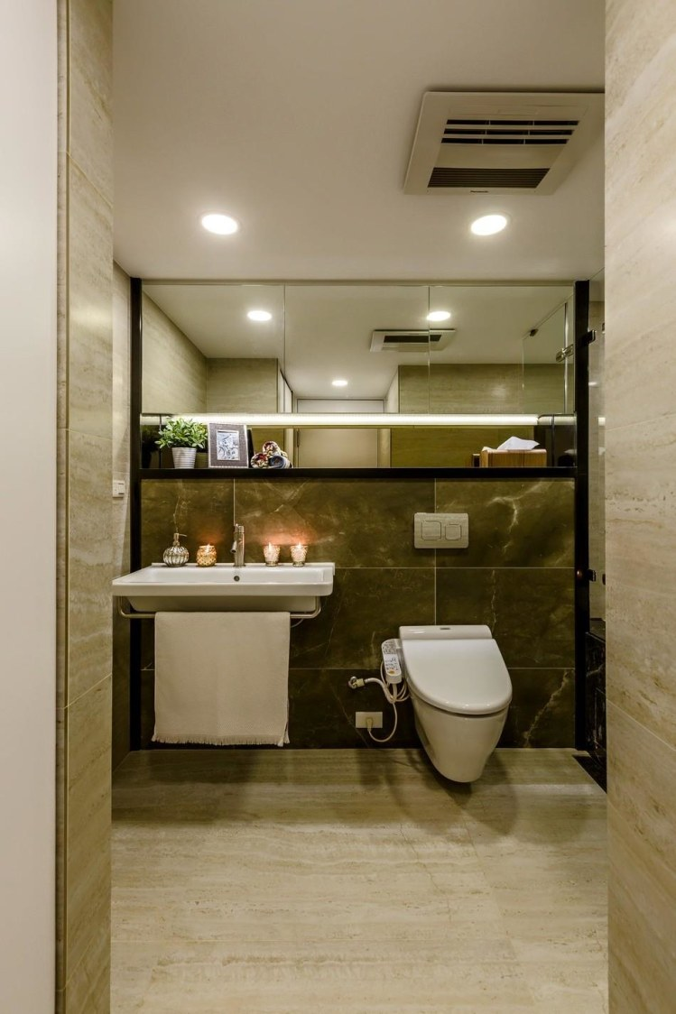Bathroom with granite flooring and white glossy fittings by Tanya Anand Bathroom Modern   Interior Design Photos & Ideas