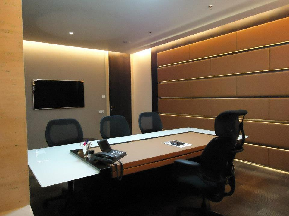 Office Room With Wooden Stripes by Chintan Patel Modern | Interior Design Photos & Ideas