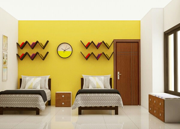 A yellow themed bedroom! by Synergy Ash Architects Bedroom | Interior Design Photos & Ideas