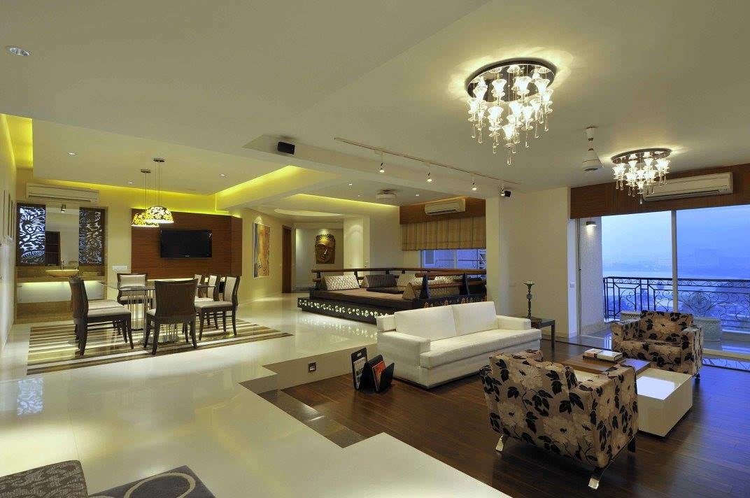 Living room with marble flooring by Midas Dezign - The Golden Touch Living-room Contemporary | Interior Design Photos & Ideas