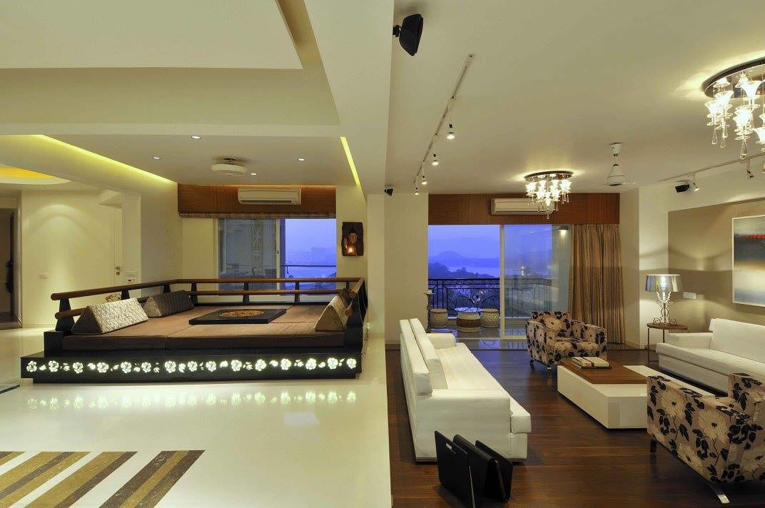 Living room with wooden and marble flooring by Midas Dezign - The Golden Touch Living-room Contemporary | Interior Design Photos & Ideas