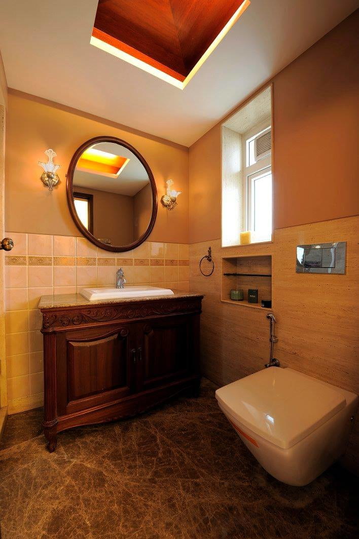 Peach Shaded Bathroom With Round Mirror by Midas Dezign  Bathroom Modern | Interior Design Photos & Ideas