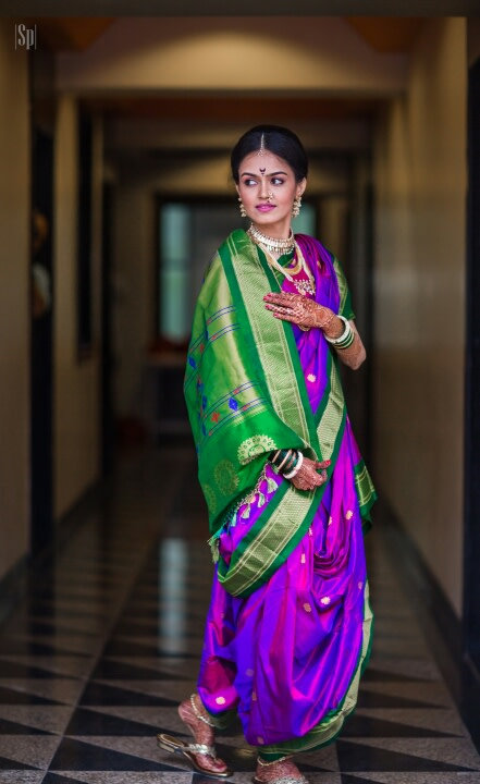 Traditional South Indian Green And Purple Kanjivaram Saree by Sameer Panchpor Wedding-photography Wedding-dresses | Weddings Photos & Ideas