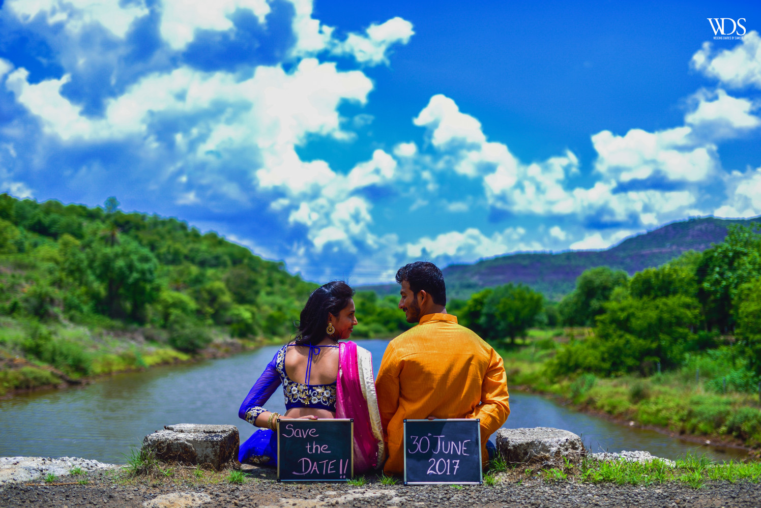 The Save The Date Themed Pre-Wedding Shoot In An Aesthetic Location Of Between HIlls And Lake by Sameer Panchpor Wedding-photography | Weddings Photos & Ideas