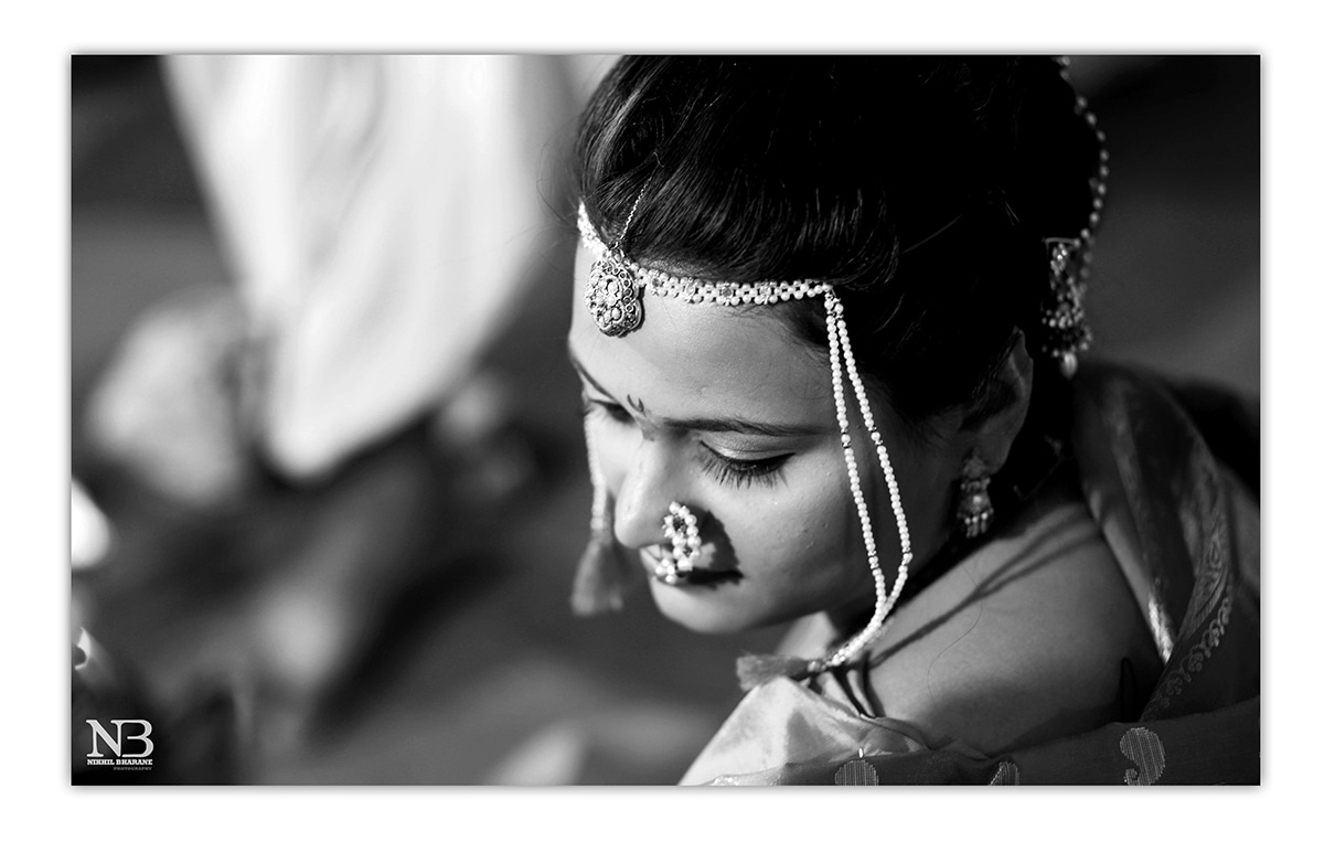 Black And White Shot Of Marathi Bride Highlighting Her Headpiece And Traditional Marathi Nath by Nikhil Y. Bharane Wedding-photography Bridal-jewellery-and-accessories | Weddings Photos & Ideas