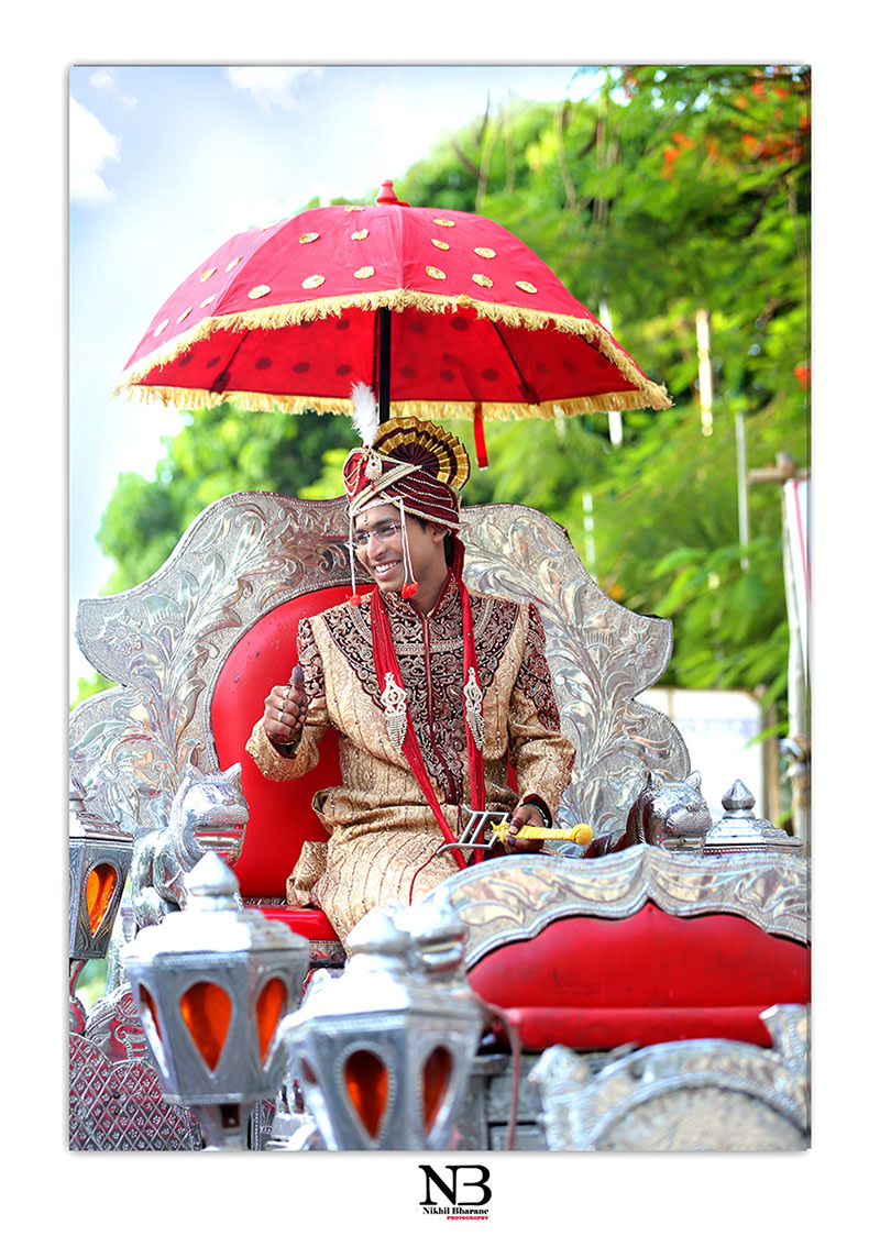 Candid Shot Of Groom On A Grand Wedding Horse Drawn Carriages by Nikhil Y. Bharane Wedding-photography | Weddings Photos & Ideas