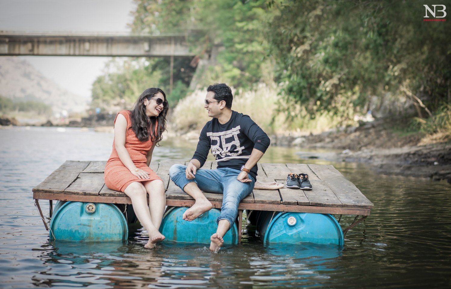 Pre-Wedding Shot Of A Scintillating Couple On A Floating Wooden Crate by Nikhil Y. Bharane Wedding-photography | Weddings Photos & Ideas