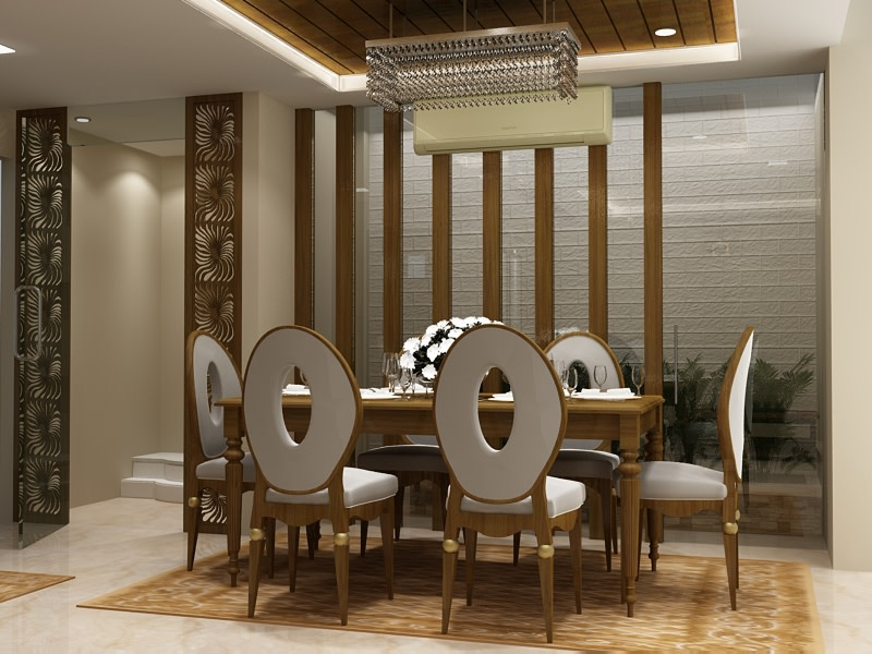 3D design of a contemporary dining room with wooden furniture by SA Design Group Dining-room Contemporary | Interior Design Photos & Ideas