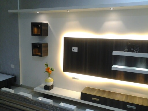 The Display Unit With Yellow Lights by I-DESIGNS Living-room Modern | Interior Design Photos & Ideas