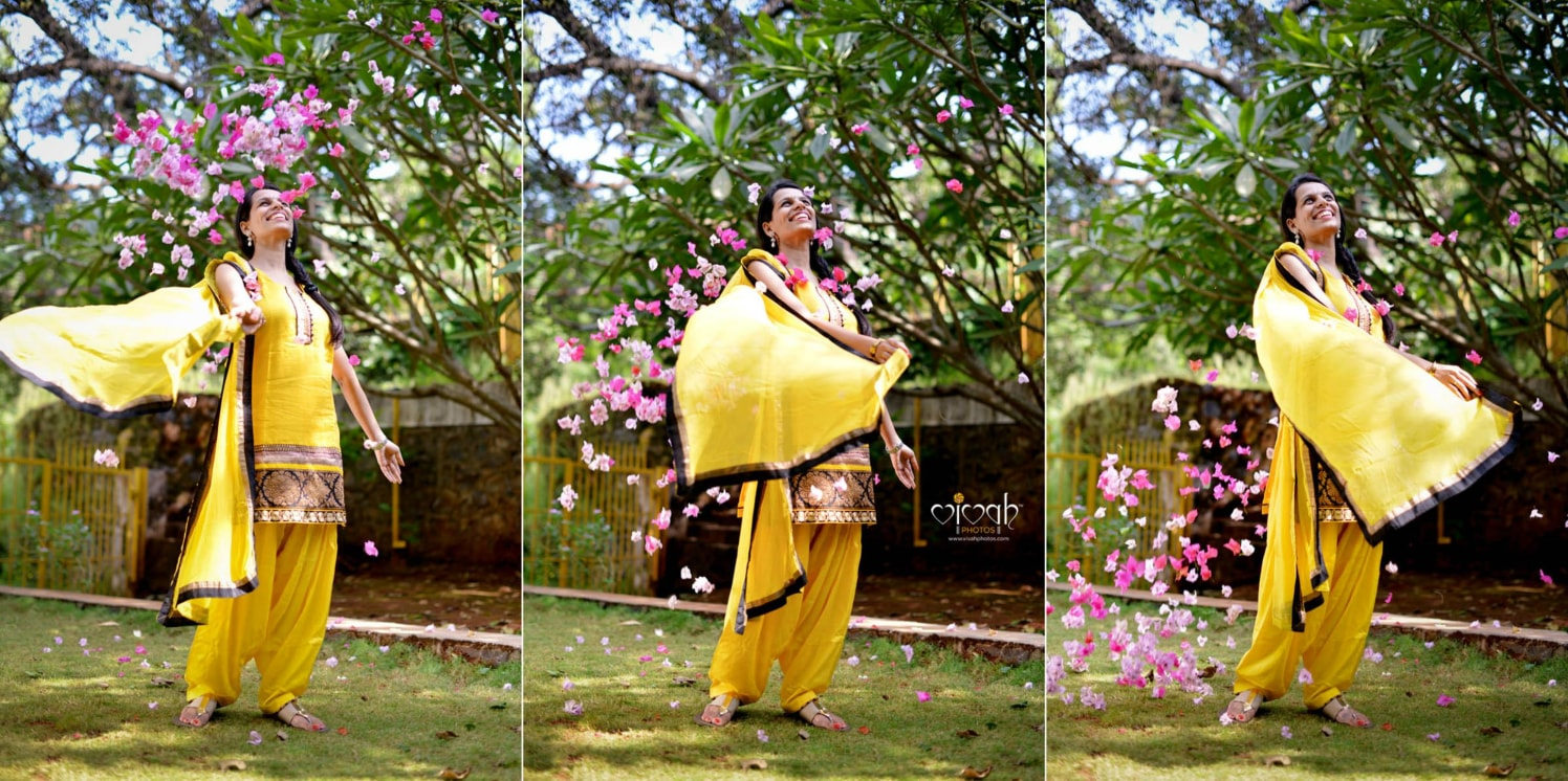 The flowing yellow stole by VIVAH PHOTOS Wedding-photography | Weddings Photos & Ideas