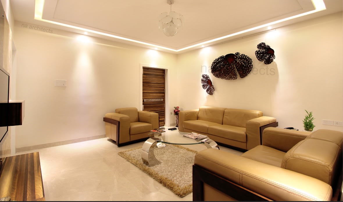 Living Room With Cream Lawson Sofas and  glass top center table by Amit Sharma Living-room Minimalistic | Interior Design Photos & Ideas