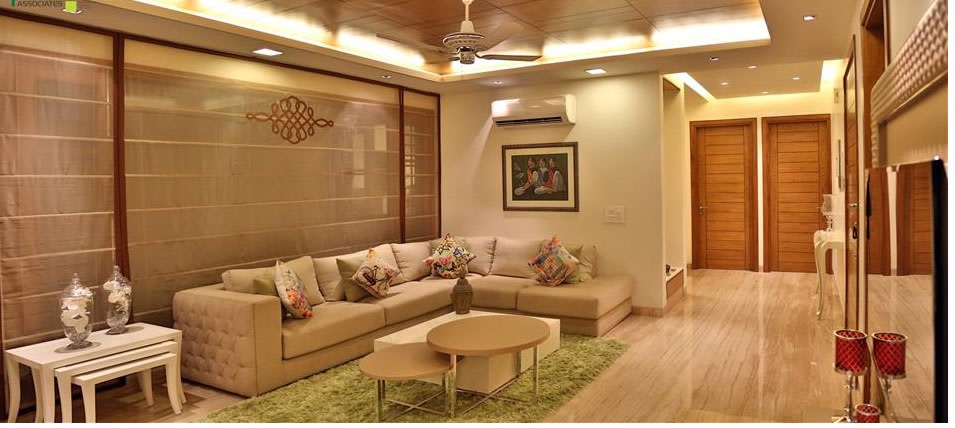 Living Room With Cream Sectional Sofas by Amit Sharma Living-room Contemporary | Interior Design Photos & Ideas