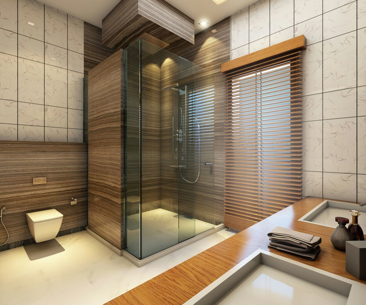 Bathroom With Wooden Work And Glass Enclosure by Amit Sharma Bathroom Modern | Interior Design Photos & Ideas
