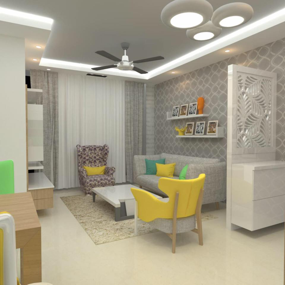Grey Themed Living Room With Round Yellow Chairs by Amit Sharma Living-room Contemporary | Interior Design Photos & Ideas