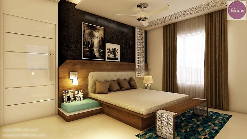 Standard Modern Bedroom with Artistic  false ceiling by 100krafts Bedroom Contemporary | Interior Design Photos & Ideas