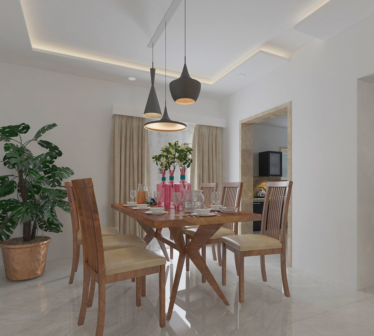 Modern Dining room with white False Ceiling by 100krafts